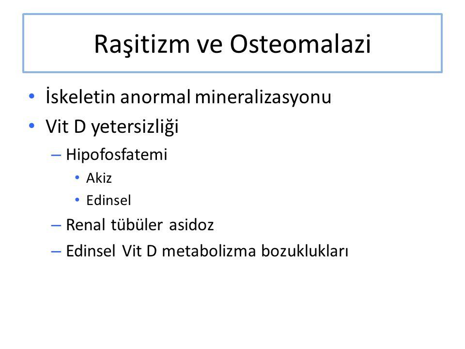 Raşitizm ve Osteomalazi İskeletin anormal mineralizasyonu Vit D yetersizliği – Hipofosfatemi Akiz Edinsel – Renal tübüler asidoz – Edinsel Vit D metab