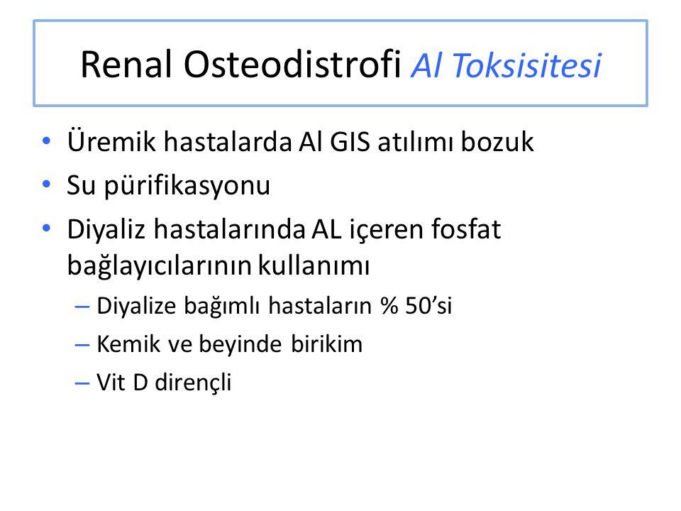 Renal Osteodistrofi Al Toksisitesi Üremik hastalarda Al GIS atılımı bozuk Su pürifikasyonu Diyaliz hastalarında AL içeren fosfat bağlayıcılarının kull