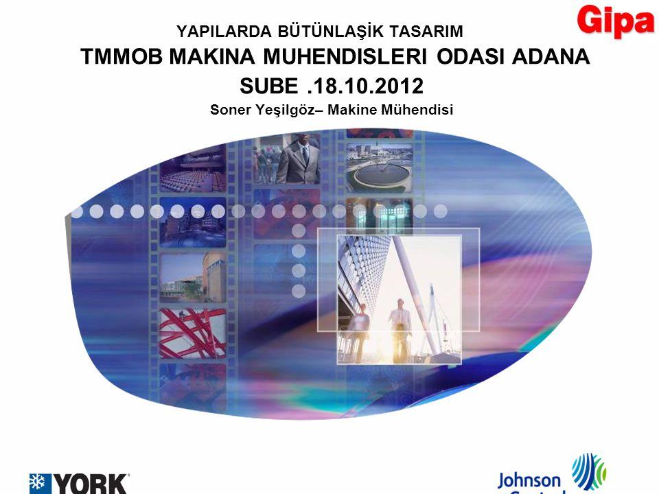 YAPILARDA BÜTÜNLAŞİK TASARIM TMMOB MAKINA MUHENDISLERI ODASI ADANA SUBE.18.10.2012 Soner Yeşilgöz– Makine Mühendisi