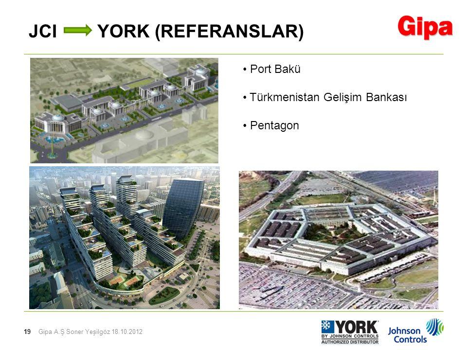 19 JCI YORK (REFERANSLAR) Gipa A.Ş Soner Yeşilgöz 18.10.2012 Port Bakü Türkmenistan Gelişim Bankası Pentagon