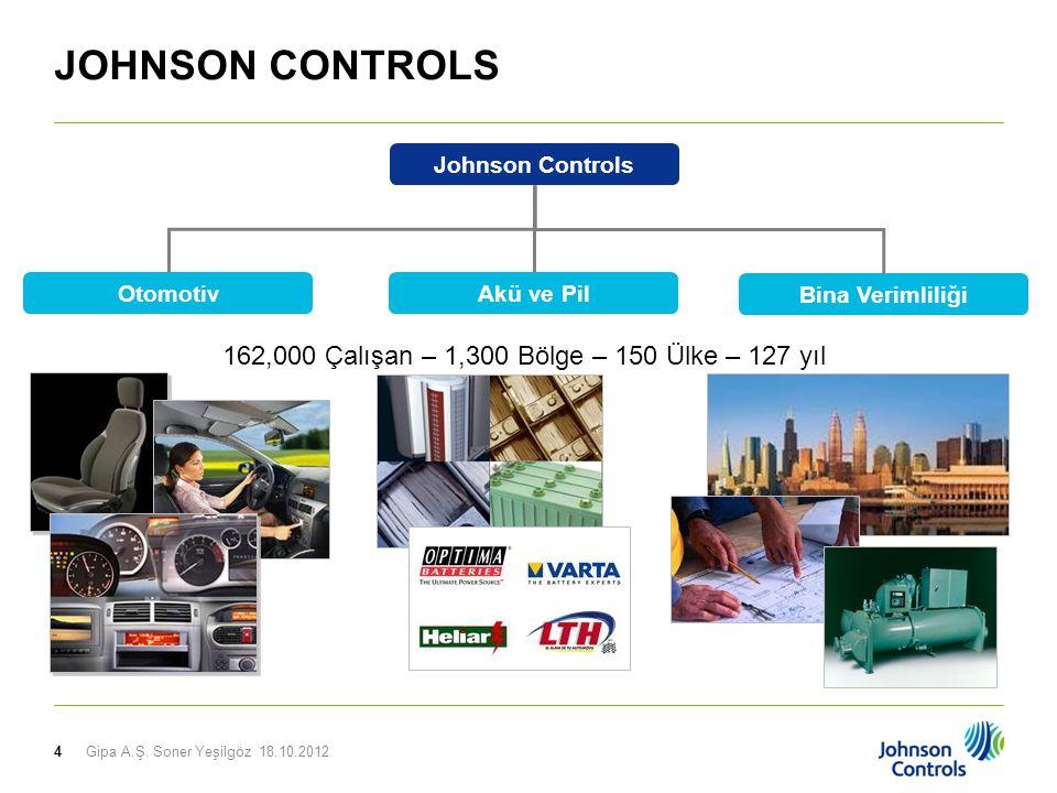 4 Johnson Controls Otomotiv Bina Verimliliği Akü ve Pil 162,000 Çalışan – 1,300 Bölge – 150 Ülke – 127 yıl JOHNSON CONTROLS Gipa A.Ş.