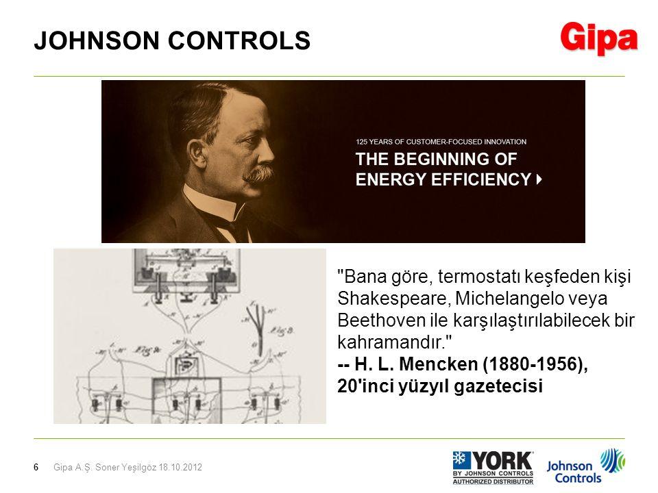 6 JOHNSON CONTROLS Bana göre, termostatı keşfeden kişi Shakespeare, Michelangelo veya Beethoven ile karşılaştırılabilecek bir kahramandır. -- H.