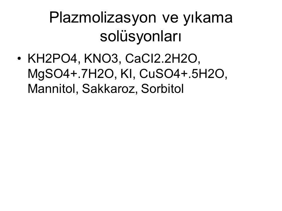 Plazmolizasyon ve yıkama solüsyonları KH2PO4, KNO3, CaCI2.2H2O, MgSO4+.7H2O, KI, CuSO4+.5H2O, Mannitol, Sakkaroz, Sorbitol