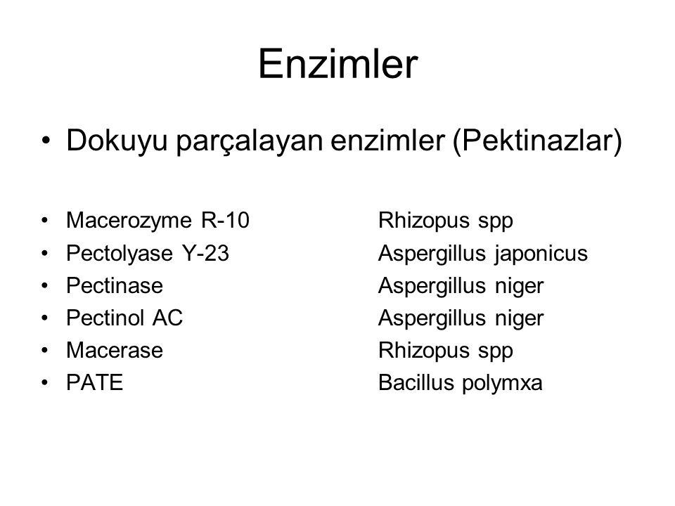 Enzimler Dokuyu parçalayan enzimler (Pektinazlar) Macerozyme R-10Rhizopus spp Pectolyase Y-23Aspergillus japonicus PectinaseAspergillus niger Pectinol ACAspergillus niger MaceraseRhizopus spp PATEBacillus polymxa