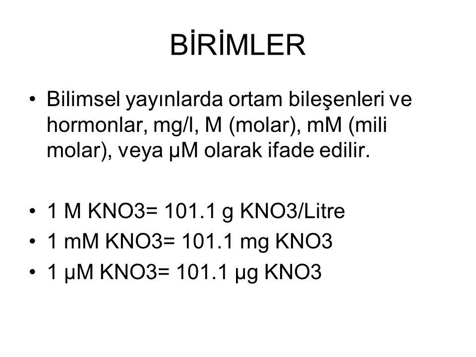BİRİMLER Bilimsel yayınlarda ortam bileşenleri ve hormonlar, mg/l, M (molar), mM (mili molar), veya µM olarak ifade edilir.