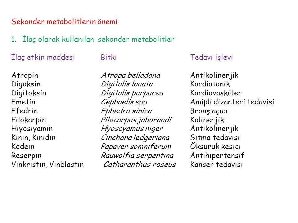 Sekonder metabolitlerin önemi 1.İlaç olarak kullanılan sekonder metabolitler İlaç etkin maddesiBitkiTedavi işlevi AtropinAtropa belladonaAntikolinerjik DigoksinDigitalis lanataKardiatonik DigitoksinDigitalis purpureaKardiovasküler EmetinCephaelis sppAmipli dizanteri tedavisi EfedrinEphedra sinicaBronş açıcı FilokarpinPilocarpus jaborandiKolinerjik HiyosiyaminHyoscyamus nigerAntikolinerjik Kinin, KinidinCinchona ledgerianaSıtma tedavisi KodeinPapaver somniferumÖksürük kesici ReserpinRauwolfia serpentinaAntihipertensif Vinkristin, Vinblastin Catharanthus roseusKanser tedavisi