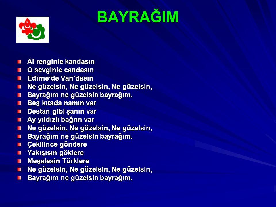 BAYRAĞIM Al renginle kandasın O sevginle candasın Edirne'de Van'dasın Ne güzelsin, Ne güzelsin, Ne güzelsin, Bayrağım ne güzelsin bayrağım.