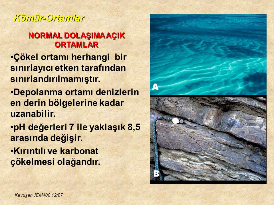 Kömür-Ortamlar NORMAL DOLAŞIMA AÇIK ORTAMLAR Çökel ortamı herhangi bir sınırlayıcı etken tarafından sınırlandırılmamıştır. Depolanma ortamı denizlerin
