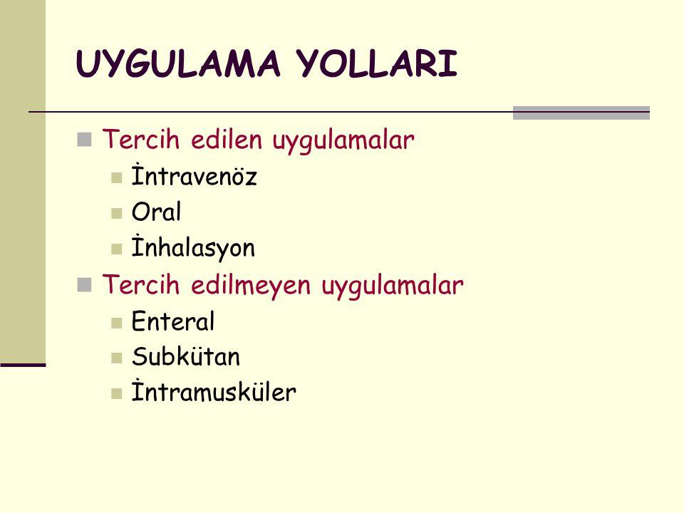 UYGULAMA YOLLARI Tercih edilen uygulamalar İntravenöz Oral İnhalasyon Tercih edilmeyen uygulamalar Enteral Subkütan İntramusküler
