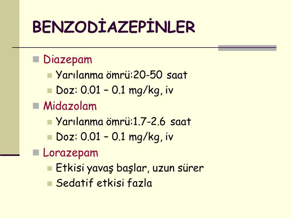 BENZODİAZEPİNLER Diazepam Yarılanma ömrü:20-50 saat Doz: 0.01 – 0.1 mg/kg, iv Midazolam Yarılanma ömrü:1.7-2.6 saat Doz: 0.01 – 0.1 mg/kg, iv Lorazepa