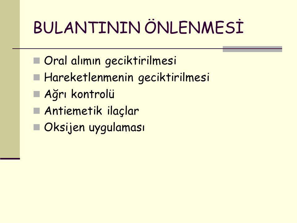 BULANTININ ÖNLENMESİ Oral alımın geciktirilmesi Hareketlenmenin geciktirilmesi Ağrı kontrolü Antiemetik ilaçlar Oksijen uygulaması
