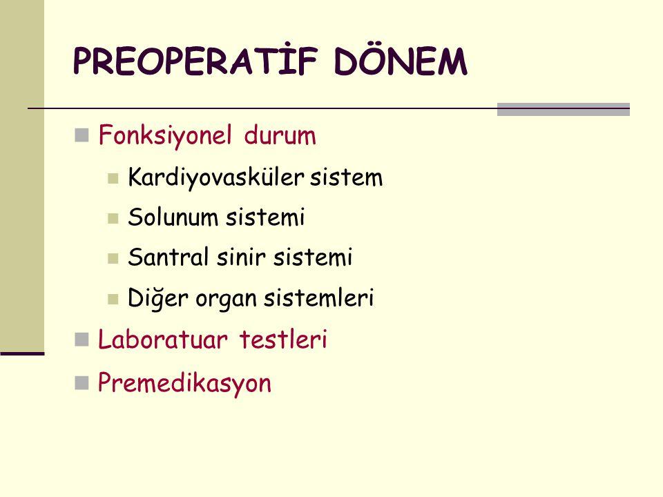 DİYABETİK HASTALAR Preoperatif kan glukoz düzeyinin kontrol altına alınması İnsüline bağımlı diyabetiklerin sabah ameliyata alınması İntraoperatif glisemi kontrolü (saatlik) Glisemi < 100 mg/dl  Dekstroz, iv Glisemi > 200 mg/dl  İnsülin,0.1 U/kg, iv Postoperatif aç kalma süresinin kısaltılması