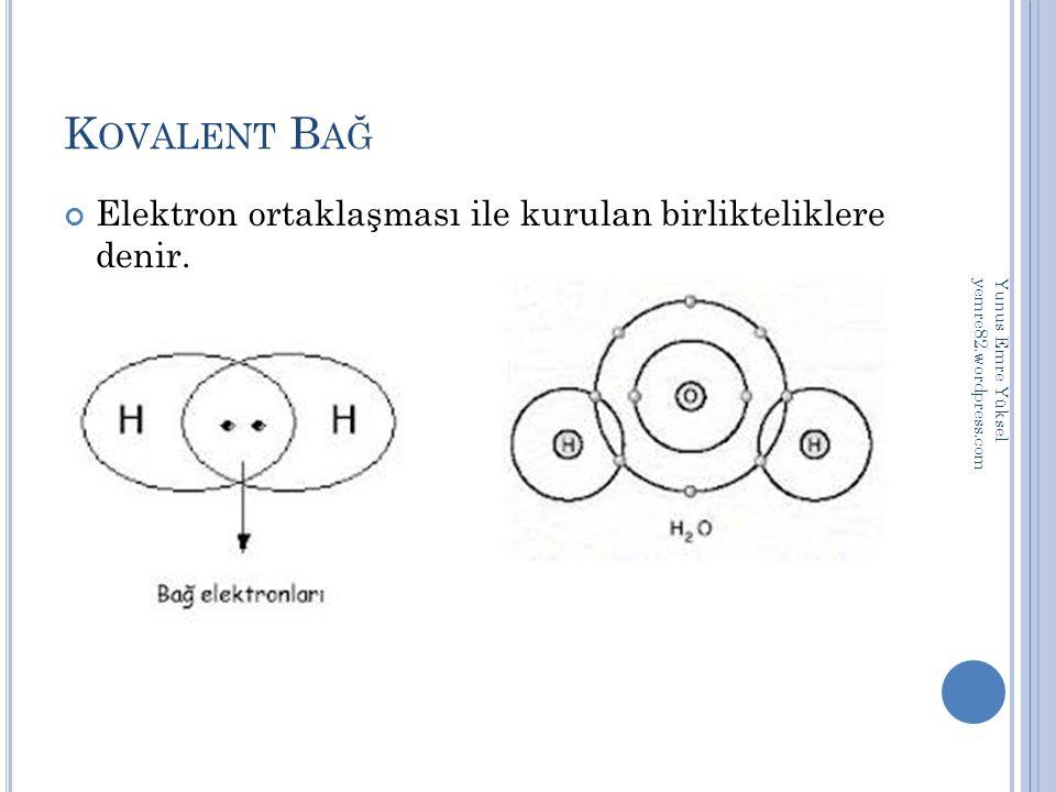K OVALENT B AĞ Elektron ortaklaşması ile kurulan birlikteliklere denir. Yunus Emre Yüksel yemre82.wordpress.com