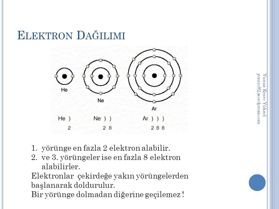 E LEKTRON D AĞILIMI 1.yörünge en fazla 2 elektron alabilir. 2.ve 3. yörüngeler ise en fazla 8 elektron alabilirler. Elektronlar çekirdeğe yakın yörüng
