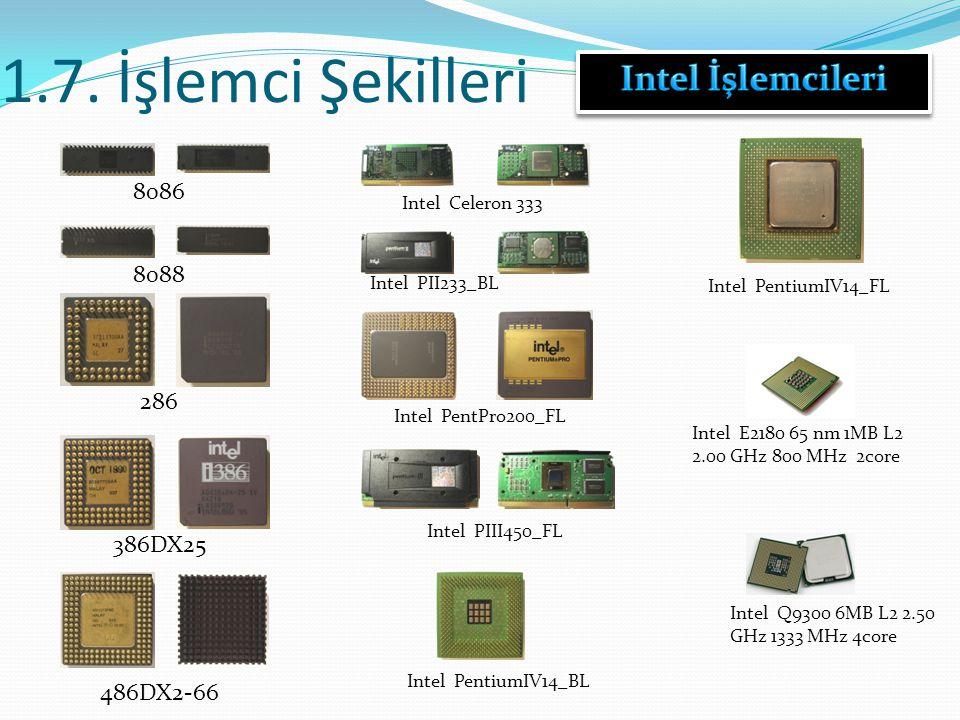1.7. İşlemci Şekilleri 8086 386DX25 486DX2-66 Intel Celeron 333 Intel PII233_BL Intel PentPro200_FL Intel PIII450_FL Intel PentiumIV14_BL Intel Pentiu