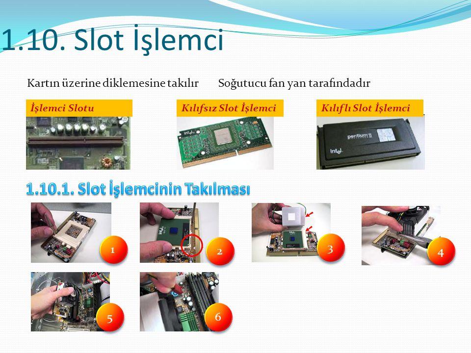 1.10. Slot İşlemci Kartın üzerine diklemesine takılır Soğutucu fan yan tarafındadır 1 1 2 2 3 3 4 4 5 5 6 6 İşlemci SlotuKılıfsız Slot İşlemciKılıflı