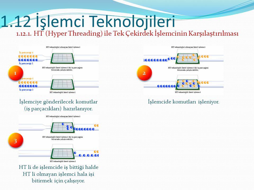 1.12 İşlemci Teknolojileri 1.12.1. HT (Hyper Threading) ile Tek Çekirdek İşlemcinin Karşılaştırılması İşlemciye gönderilecek komutlar (iş parçacıkları