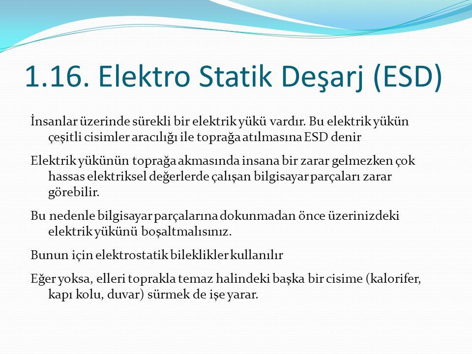 1.16. Elektro Statik Deşarj (ESD) İnsanlar üzerinde sürekli bir elektrik yükü vardır. Bu elektrik yükün çeşitli cisimler aracılığı ile toprağa atılmas