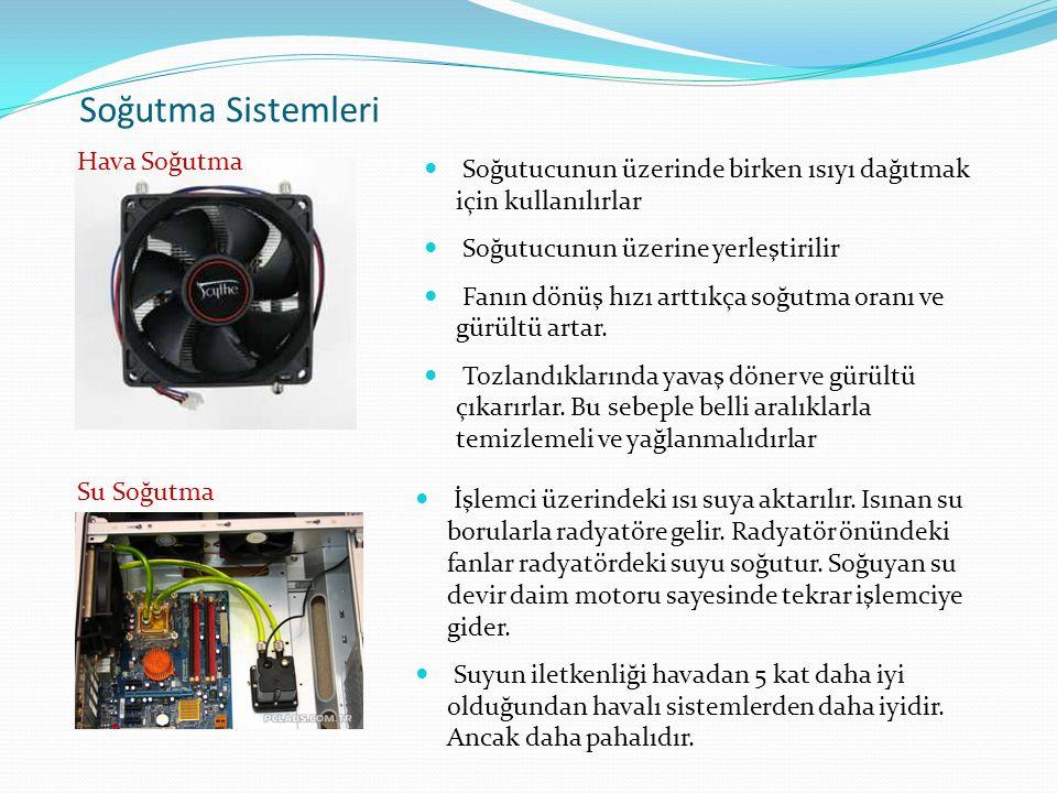 Soğutma Sistemleri Soğutucunun üzerinde birken ısıyı dağıtmak için kullanılırlar Soğutucunun üzerine yerleştirilir Fanın dönüş hızı arttıkça soğutma o