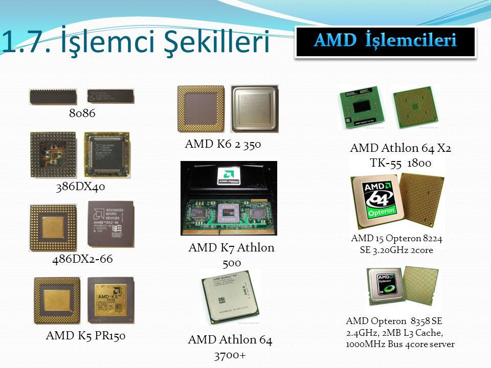1.7. İşlemci Şekilleri 8086 386DX40 486DX2-66 AMD K5 PR150 AMD K6 2 350 AMD K7 Athlon 500 AMD Athlon 64 3700+ AMD Athlon 64 X2 TK-55 1800 AMD 15 Opter