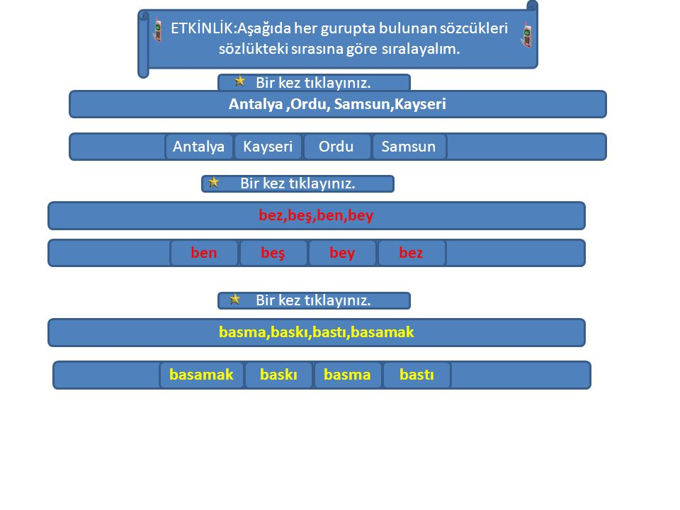 Antalya,Ordu, Samsun,Kayseri. bez,beş,ben,bey basma,baskı,bastı,basamak ETKİNLİK:Aşağıda her gurupta bulunan sözcükleri sözlükteki sırasına göre sıral