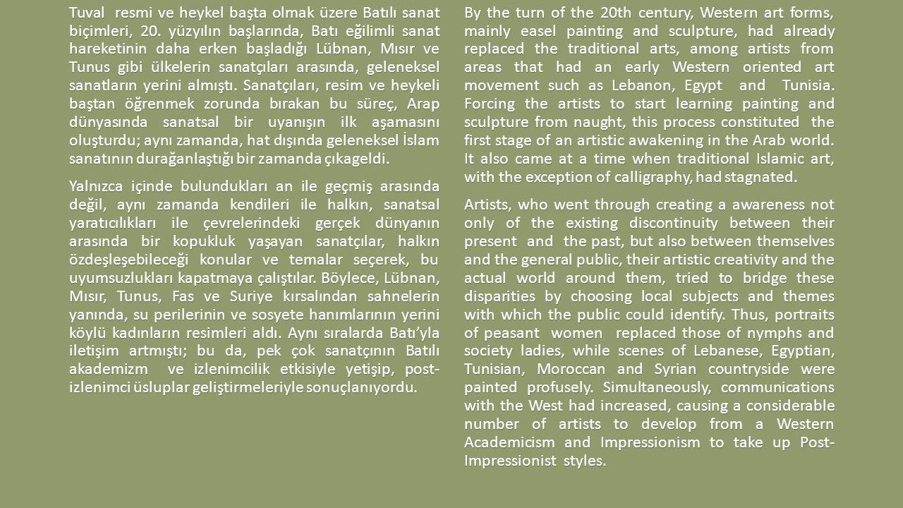 Tuval resmi ve heykel başta olmak üzere Batılı sanat biçimleri, 20.