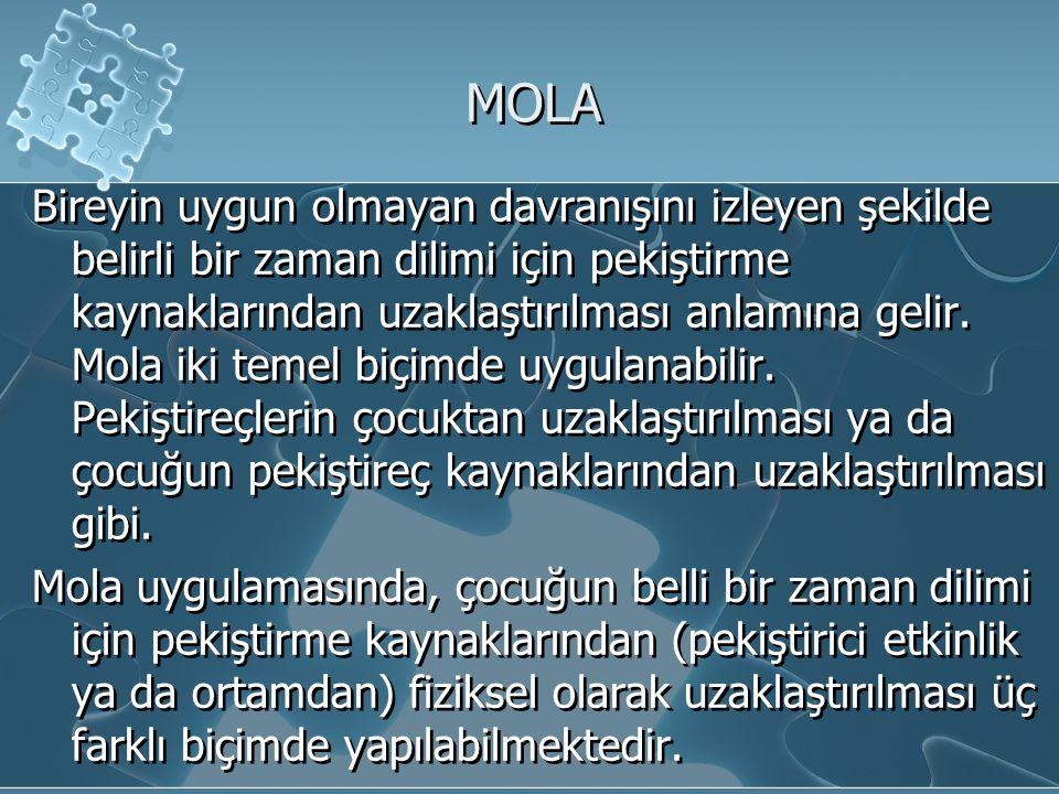 MOLA Bireyin uygun olmayan davranışını izleyen şekilde belirli bir zaman dilimi için pekiştirme kaynaklarından uzaklaştırılması anlamına gelir. Mola i