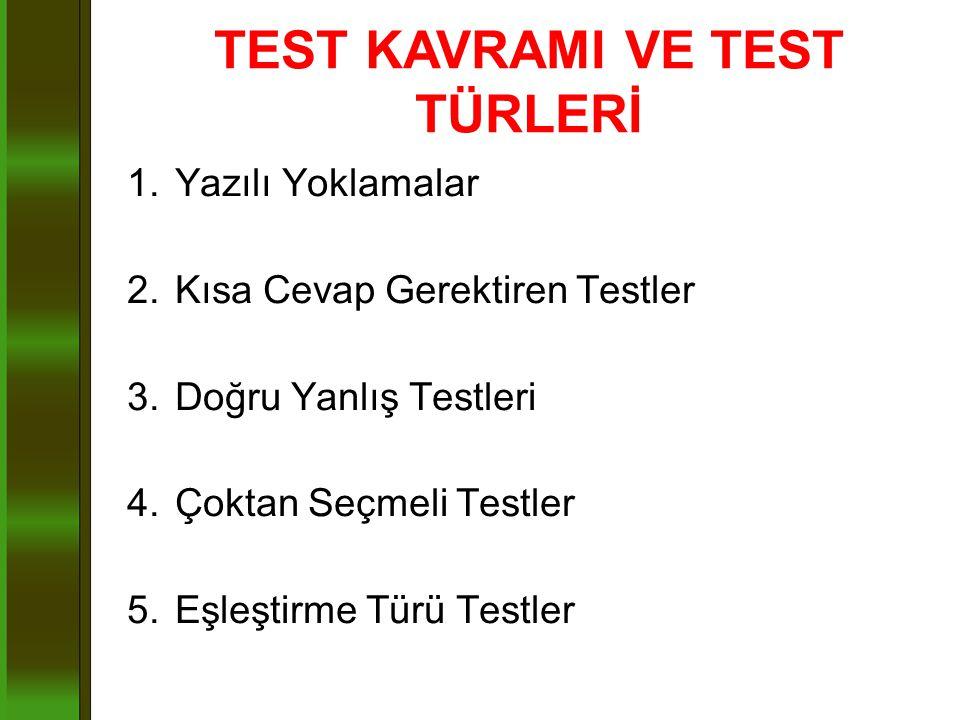 1.Yazılı Yoklamalar 2.Kısa Cevap Gerektiren Testler 3.Doğru Yanlış Testleri 4.Çoktan Seçmeli Testler 5.Eşleştirme Türü Testler TEST KAVRAMI VE TEST TÜ