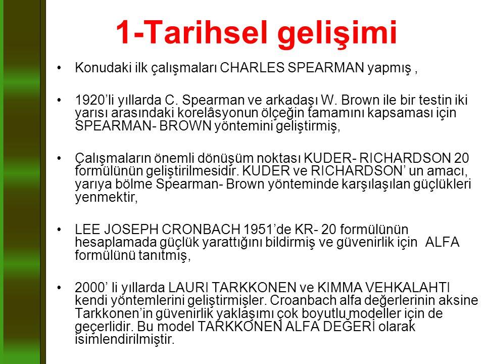 1-Tarihsel gelişimi Konudaki ilk çalışmaları CHARLES SPEARMAN yapmış, 1920'li yıllarda C. Spearman ve arkadaşı W. Brown ile bir testin iki yarısı aras