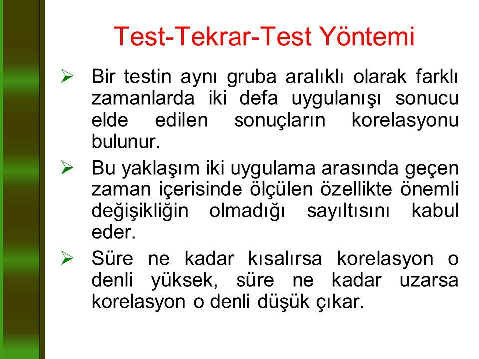 Test-Tekrar-Test Yöntemi  Bir testin aynı gruba aralıklı olarak farklı zamanlarda iki defa uygulanışı sonucu elde edilen sonuçların korelasyonu bulun
