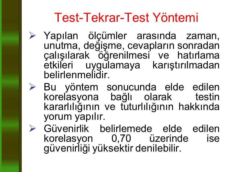 Test-Tekrar-Test Yöntemi  Yapılan ölçümler arasında zaman, unutma, değişme, cevapların sonradan çalışılarak öğrenilmesi ve hatırlama etkileri uygulam