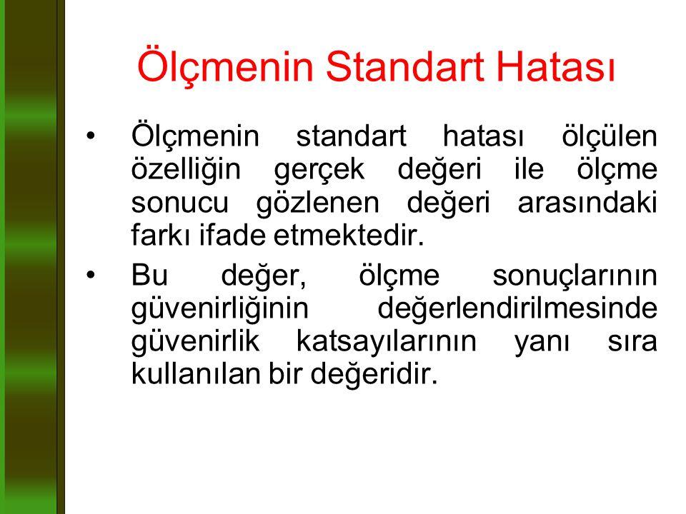 Ölçmenin Standart Hatası Ölçmenin standart hatası ölçülen özelliğin gerçek değeri ile ölçme sonucu gözlenen değeri arasındaki farkı ifade etmektedir.