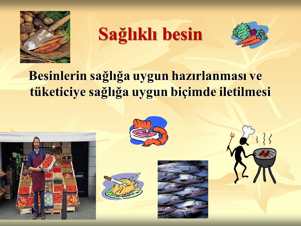 Sağlıklı besin Besinlerin sağlığa uygun hazırlanması ve tüketiciye sağlığa uygun biçimde iletilmesi Besinlerin sağlığa uygun hazırlanması ve tüketiciye sağlığa uygun biçimde iletilmesi