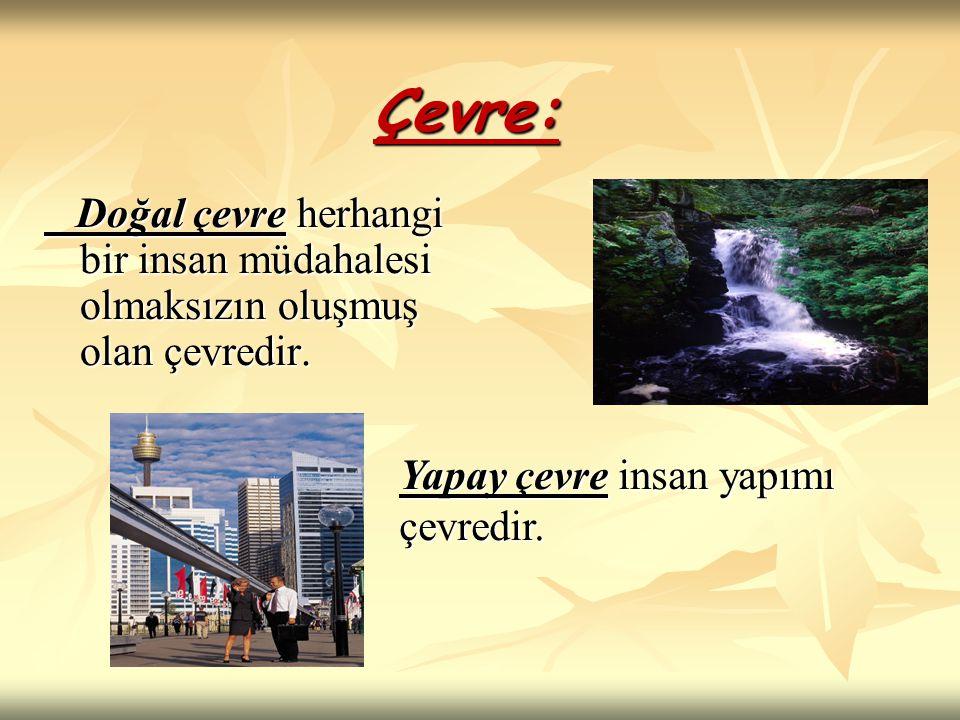 Çevre: Doğal çevre herhangi bir insan müdahalesi olmaksızın oluşmuş olan çevredir.