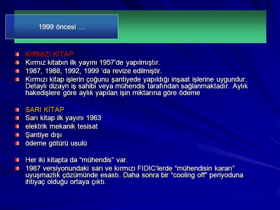 KIRMIZI KİTAP Kırmız kitabın ilk yayını 1957'de yapılmıştır. 1987, 1988, 1992, 1999 'da revize edilmiştir. Kırmızı kitap işlerin çoğunu şantiyede yapı