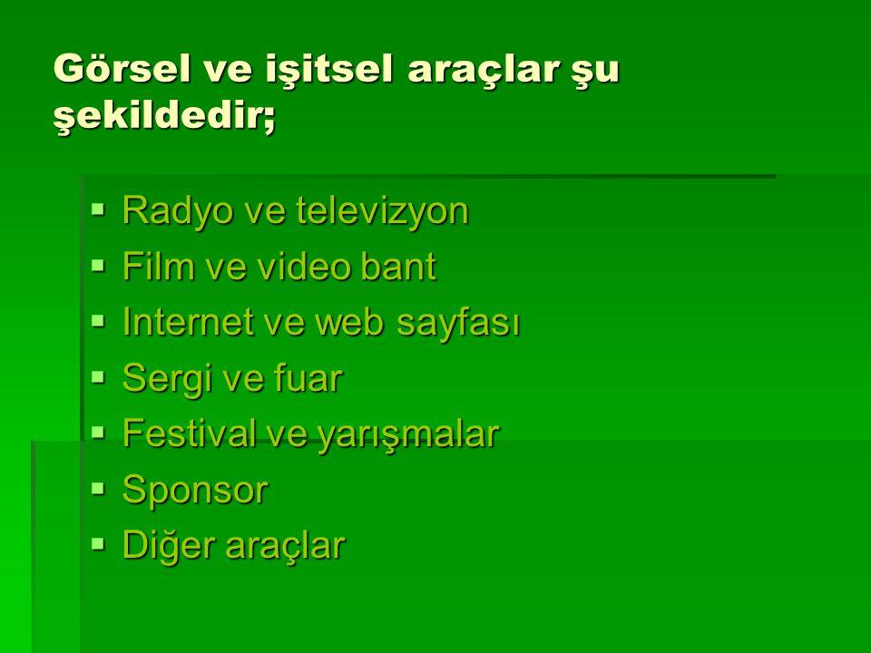 Görsel ve işitsel araçlar şu şekildedir;  Radyo ve televizyon  Film ve video bant  Internet ve web sayfası  Sergi ve fuar  Festival ve yarışmalar  Sponsor  Diğer araçlar