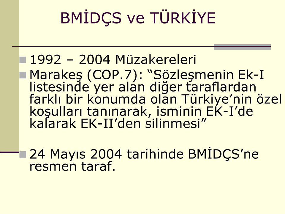 """BMİDÇS ve TÜRKİYE 1992 – 2004 Müzakereleri Marakeş (COP.7): """"Sözleşmenin Ek-I listesinde yer alan diğer taraflardan farklı bir konumda olan Türkiye'ni"""