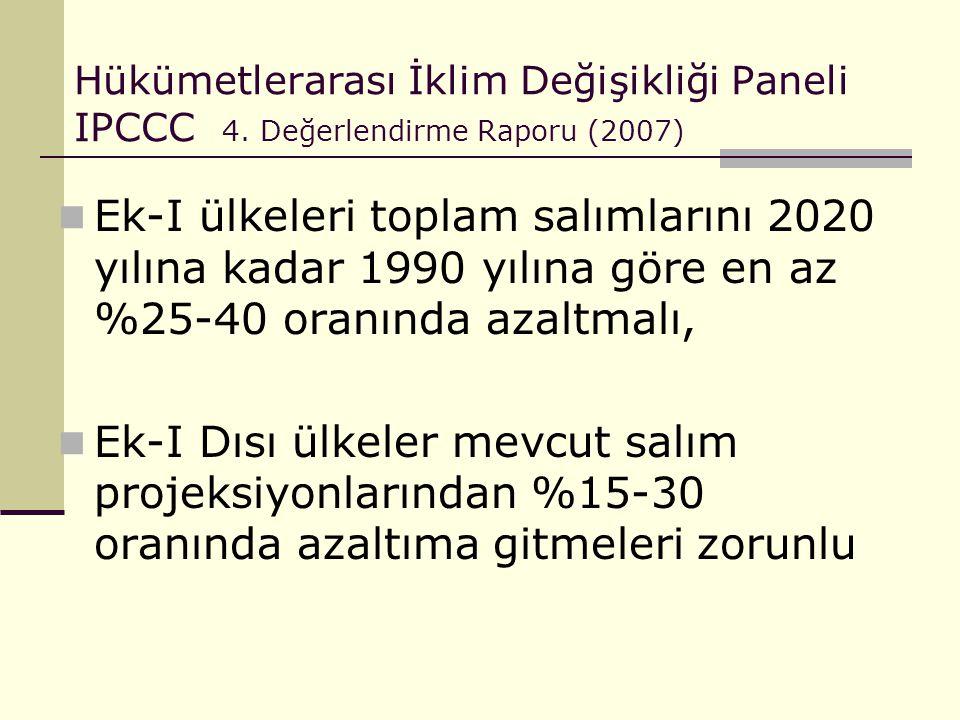 Hükümetlerarası İklim Değişikliği Paneli IPCCC 4. Değerlendirme Raporu (2007) Ek-I ülkeleri toplam salımlarını 2020 yılına kadar 1990 yılına göre en a