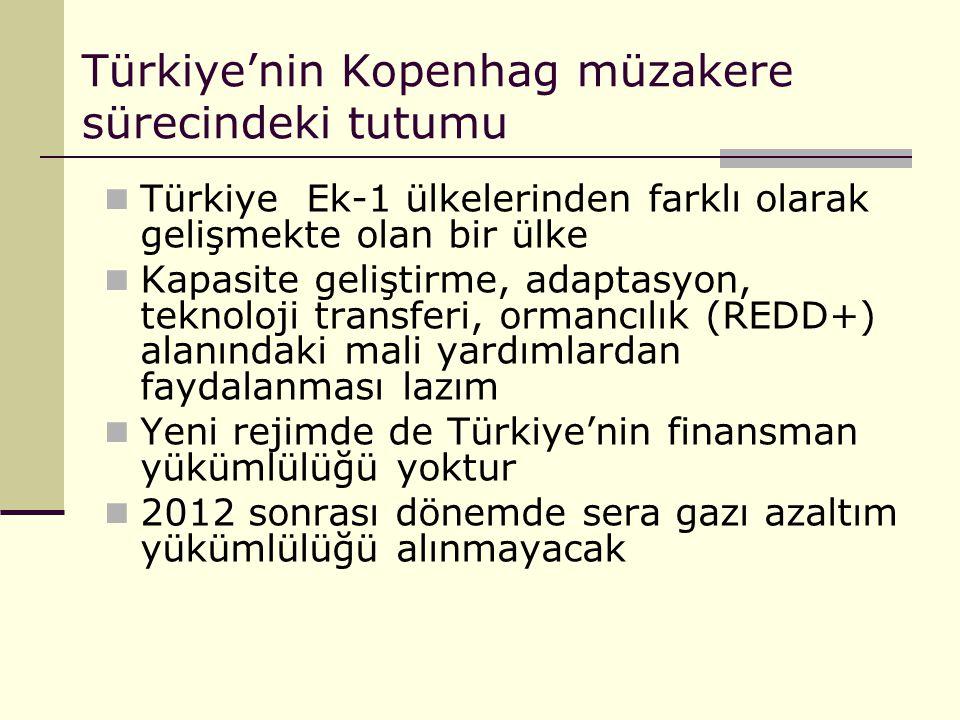 Türkiye'nin Kopenhag müzakere sürecindeki tutumu Türkiye Ek-1 ülkelerinden farklı olarak gelişmekte olan bir ülke Kapasite geliştirme, adaptasyon, tek