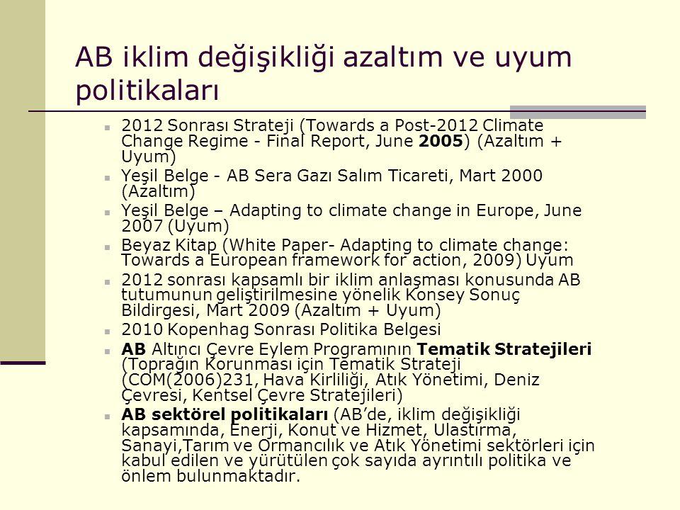 AB iklim değişikliği azaltım ve uyum politikaları 2012 Sonrası Strateji (Towards a Post-2012 Climate Change Regime - Final Report, June 2005) (Azaltım
