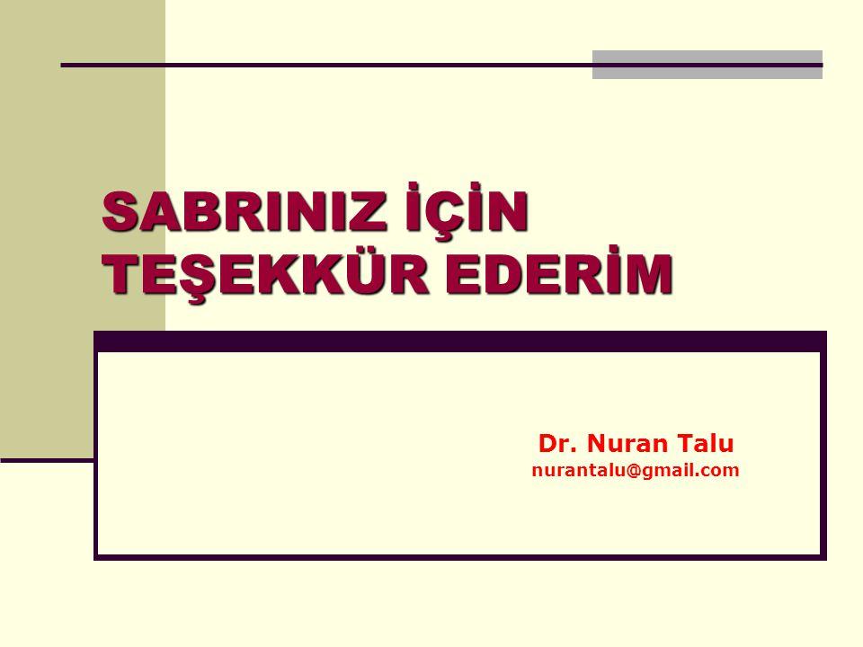 SABRINIZ İÇİN TEŞEKKÜR EDERİM Dr. Nuran Talu nurantalu@gmail.com