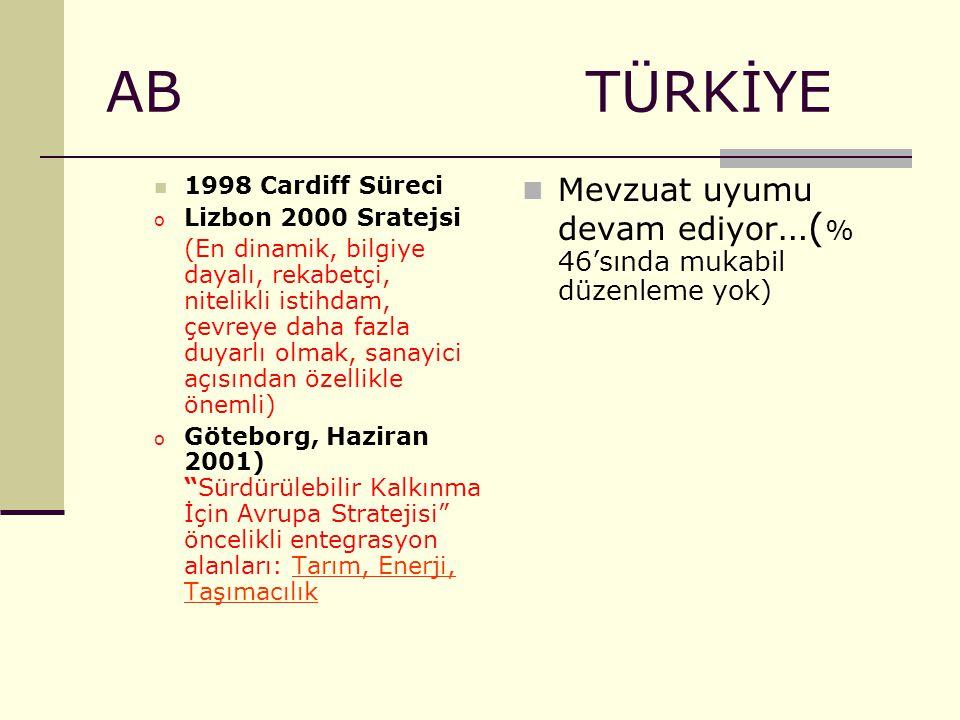 AB TÜRKİYE 1998 Cardiff Süreci o Lizbon 2000 Sratejsi (En dinamik, bilgiye dayalı, rekabetçi, nitelikli istihdam, çevreye daha fazla duyarlı olmak, sa