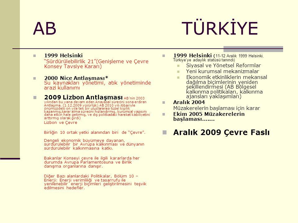 """AB TÜRKİYE 1999 Helsinki """"Sürdürülebilirlik 21""""(Genişleme ve Çevre Konsey Tavsiye Kararı) 2000 Nice Antlaşması* Su kaynakları yönetimi, atık yönetimin"""