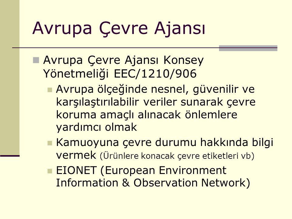 Avrupa Çevre Ajansı Avrupa Çevre Ajansı Konsey Yönetmeliği EEC/1210/906 Avrupa ölçeğinde nesnel, güvenilir ve karşılaştırılabilir veriler sunarak çevr