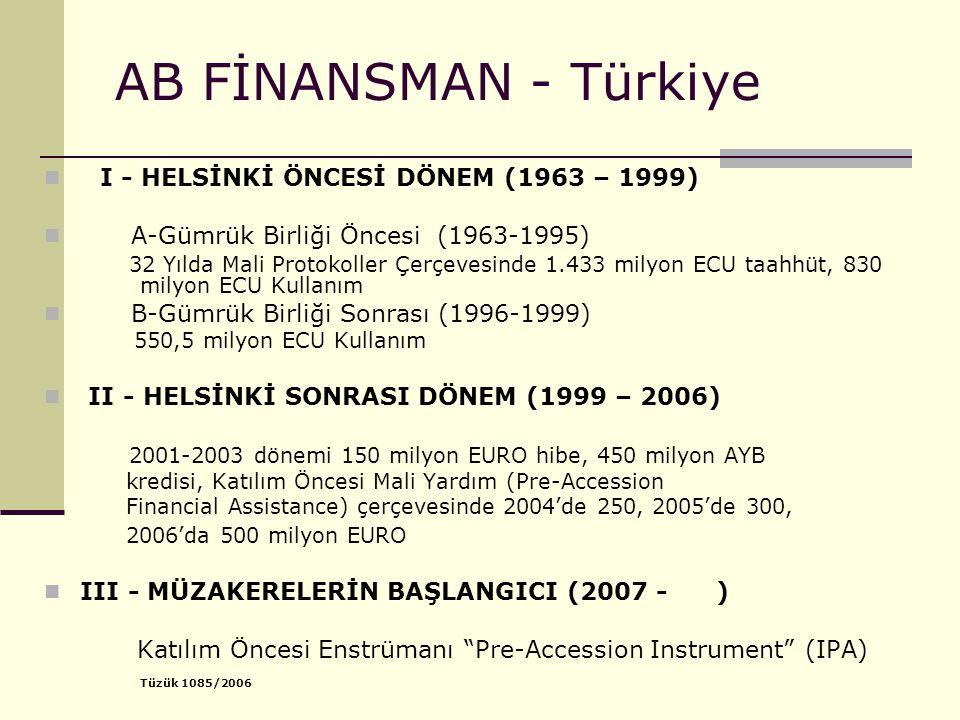 AB FİNANSMAN - Türkiye I - HELSİNKİ ÖNCESİ DÖNEM (1963 – 1999) A-Gümrük Birliği Öncesi (1963-1995) 32 Yılda Mali Protokoller Çerçevesinde 1.433 milyon