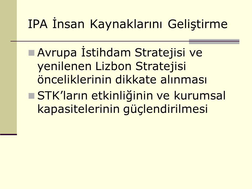 IPA İnsan Kaynaklarını Geliştirme Avrupa İstihdam Stratejisi ve yenilenen Lizbon Stratejisi önceliklerinin dikkate alınması STK'ların etkinliğinin ve