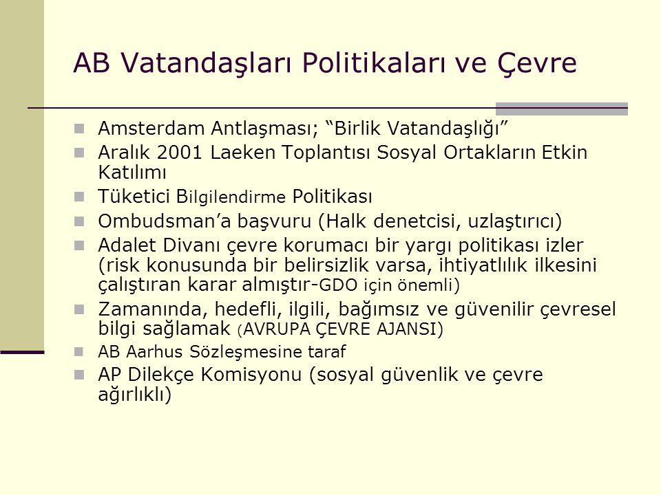 """AB Vatandaşları Politikaları ve Çevre Amsterdam Antlaşması; """"Birlik Vatandaşlığı"""" Aralık 2001 Laeken Toplantısı Sosyal Ortakların Etkin Katılımı Tüket"""