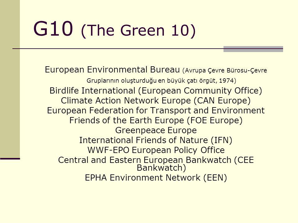 G10 (The Green 10) European Environmental Bureau (Avrupa Çevre Bürosu-Çevre Gruplarının oluşturduğu en büyük çatı örgüt, 1974) Birdlife International