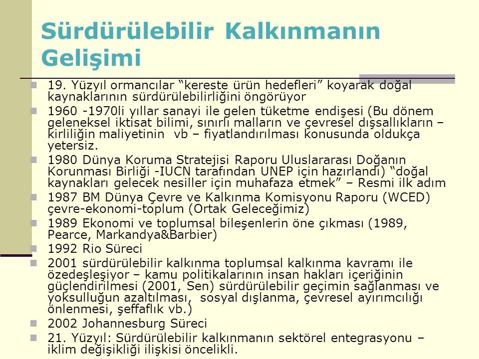 Sürdürülebilir Kalkınmanın Gelişimi Yeşiller Almanya, 1960 (Yurttaş İnisiyatifi -nükleer karşıtlık, savaşa karşıtlık, kurulu düzene karşıtlık) 0 Büyüme Raporu 1972 (Büyümenin Sınırları, Roma Klubü- MIT (Massachusetts Institue of Technology) OECD,1972 (kirleten öder) AB ( 1972 Topluluk Paris Deklarasyonu - Ekonomik kalkınmanın ekolojik sorunları; ortak politika ve eylem programları ihtiyacı - İlk somut adım) ve 1987 Tek Avrupa Senedi (Kirleten Öder) Birleşmiş Milletler Stockholm 1972 Küresel düzeyde ilk siyasi irade Ortak Geleceğimiz Raporu 1987 Gezegen güvenliği, ekoloji güvenliği Rio 1992 Kalkınma-Çevre Johannesburg 2002 Yoksulluk, yönetişim Dünya Bankası 1990 (Yatırımlarda çevre değerlendirmesi) Küresel İklim Rejimi 2012....(Piyasa ve çevre)