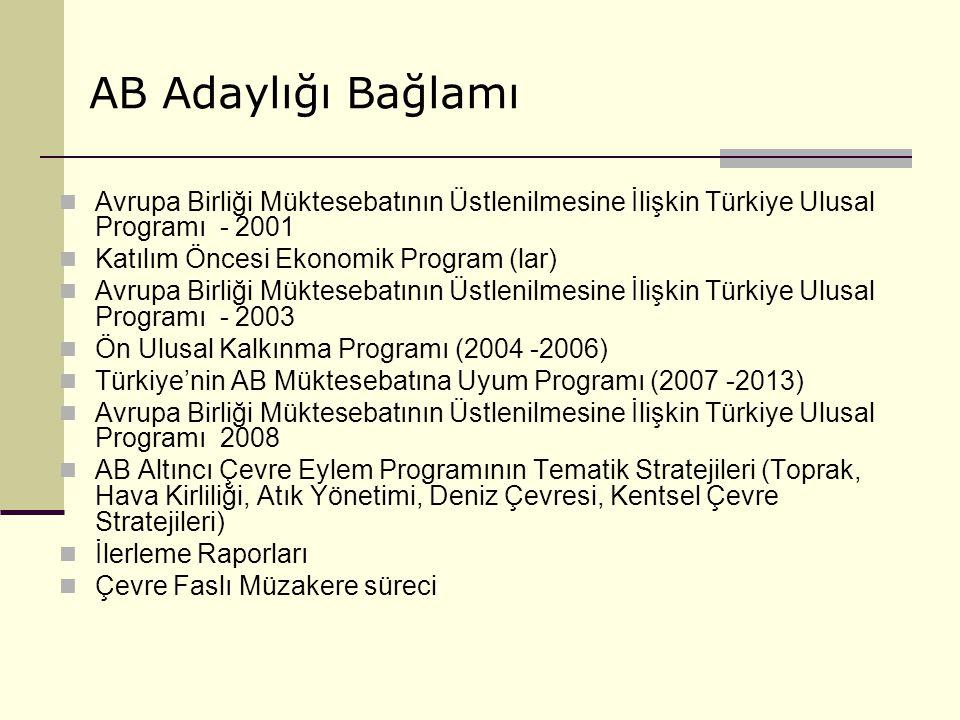 Avrupa Birliği Müktesebatının Üstlenilmesine İlişkin Türkiye Ulusal Programı - 2001 Katılım Öncesi Ekonomik Program (lar) Avrupa Birliği Müktesebatını